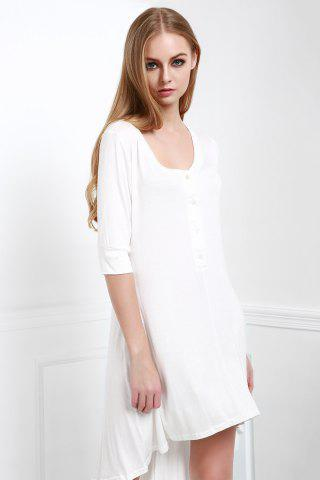 New Scoop Neck Buttoned Tee Flowy Dress With Sleeves WHITE S