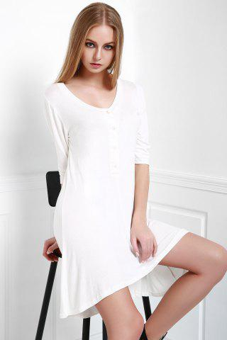 Store Scoop Neck Buttoned Tee Flowy Dress With Sleeves - S WHITE Mobile