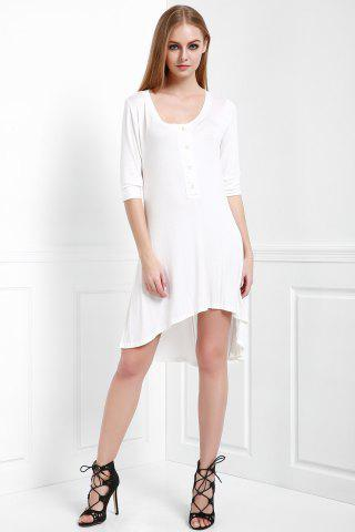 Shops Scoop Neck Buttoned Tee Flowy Dress With Sleeves - S WHITE Mobile