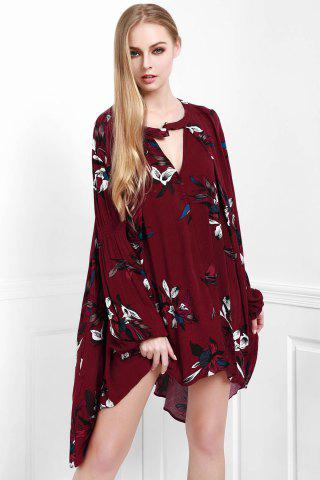 Shops Stylish Keyhole Neckline Long Sleeve Floral Women's Dress