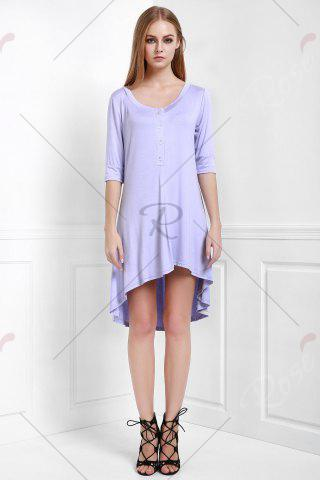Outfits Scoop Neck Buttoned Tee Flowy Dress With Sleeves - S PURPLE Mobile