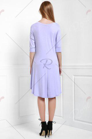 Shops Scoop Neck Buttoned Tee Flowy Dress With Sleeves - PURPLE L Mobile
