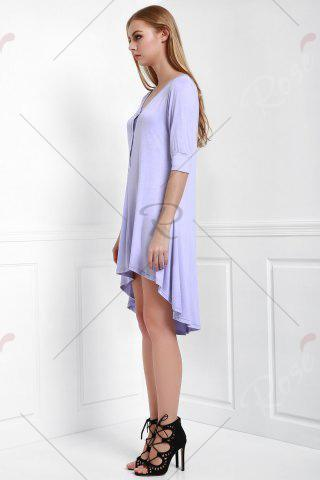Discount Scoop Neck Buttoned Tee Flowy Dress With Sleeves - PURPLE L Mobile