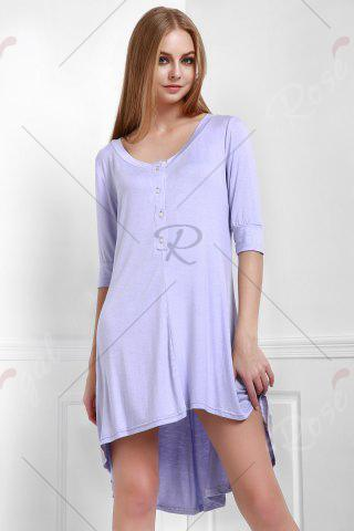 Lady Scoop Neck Buttoned Tee Flowy Dress With Sleeves - PURPLE L Mobile