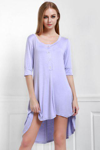 Best Scoop Neck Buttoned Tee Flowy Dress With Sleeves - PURPLE L Mobile