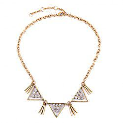 Vintage Rhinestone Hollow Out Triangle Shape Necklace - GOLDEN