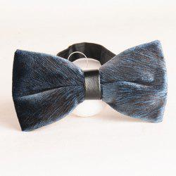 Stylish Black Animal Fur Pattern Velvet Bow Tie For Men - CADETBLUE