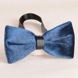 Stylish Animal Fur Pattern Blue Velvet Bow Tie For Men -