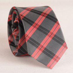 Stylish Tartan Pattern Red Matching Design 6CM Width Tie For Men