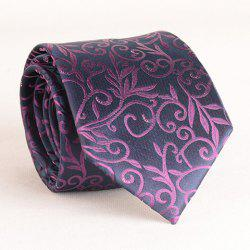 Stylish Purple Plant Jacquard 8CM Width Tie For Men -