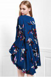 Stylish Keyhole Neckline Long Sleeve Floral Women's Dress