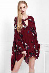 Stylish Keyhole Neckline Long Sleeve Floral Women's Dress - WINE RED S