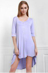 Scoop Neck Buttoned Tee Flowy Dress With Sleeves - PURPLE S