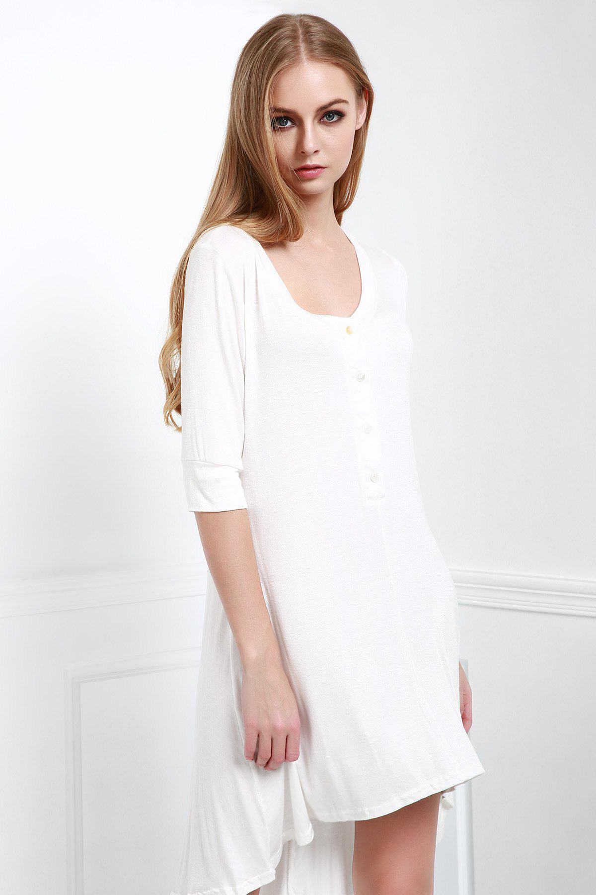 Outfits Scoop Neck Buttoned Tee Flowy Dress With Sleeves