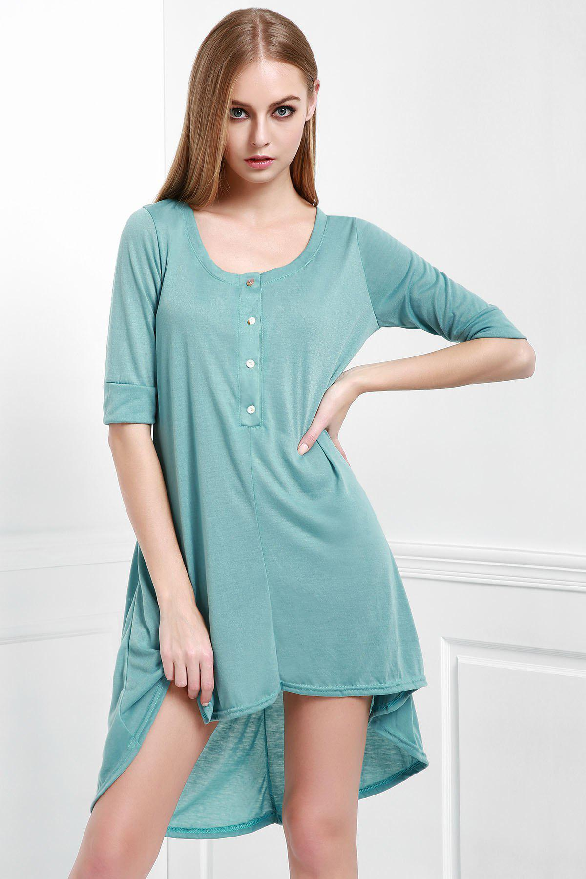 Trendy Scoop Neck Buttoned Tee Flowy Dress With Sleeves