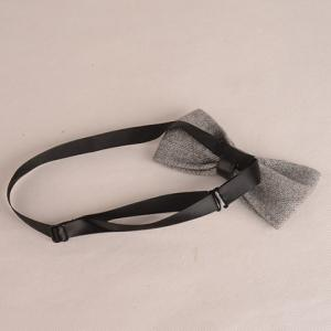 Stylish Light Gray Knitted Bow Tie For Men - LIGHT GRAY