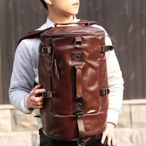 Casual Solid Color and PU Leather Design Backpack For Men -