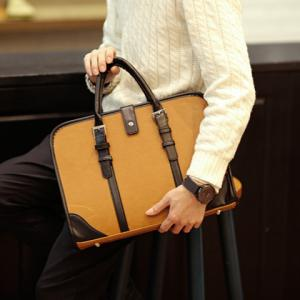 Vintage Style Strap and PU Leather Design Briefcase For Men -