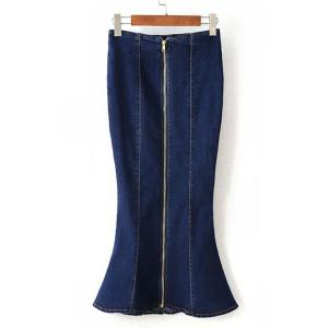 Chic Mid-Waisted Zippered Denim Women's Skirt -