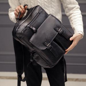Stylish PU Leather and Black Color Design Backpack For Men -