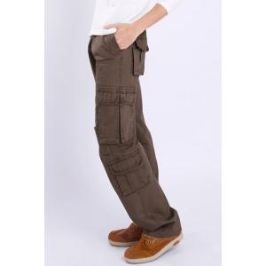 Casual Loose Fit Solid Color Multi-Pockets Zip Fly Cargo Pants For Men - COFFEE 34