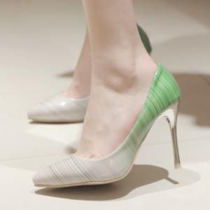 Fashion PU Leather and Color Block Design Pumps For Women -