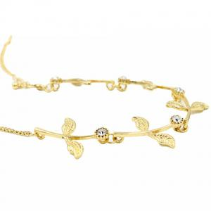 Sweet Rhinestone Leaf Link Chain Hair Band For Women -