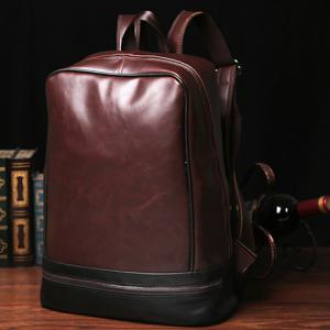 Vintage PU Leather and Zip Design Backpack For Men -
