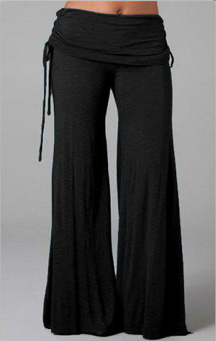 Chic Elastic Waist Solid Color Pants For Women