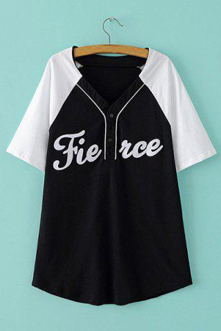 V Neck Short Sleeve Letter Print T Shirt 168285001