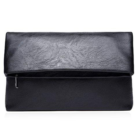 Unique Simple Black and PU Leather Design Clutch Bag For Men