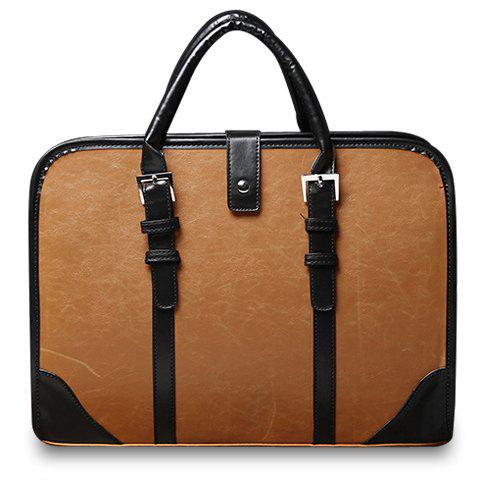Store Vintage Style Strap and PU Leather Design Briefcase For Men