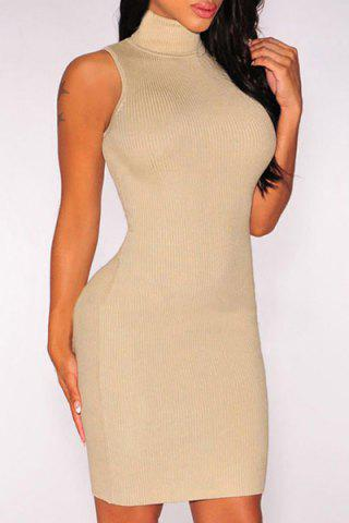 Turtle Neck Sleeveless Bodycon Knitted Dress 168197902