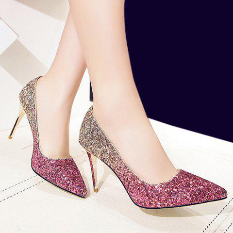 Shop Stunning Sequins and Gradient Color Design Pumps For Women - 36 PINK Mobile
