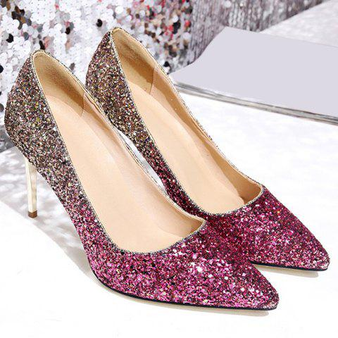 Unique Stunning Sequins and Gradient Color Design Pumps For Women - 36 PINK Mobile