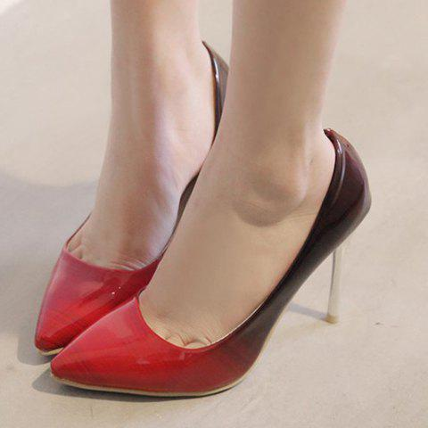 Store Fashion PU Leather and Color Block Design Pumps For Women - 37 RED Mobile