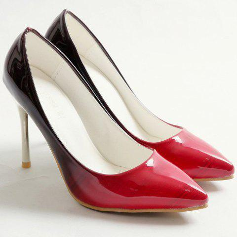 Buy Fashion PU Leather and Color Block Design Pumps For Women - 37 RED Mobile