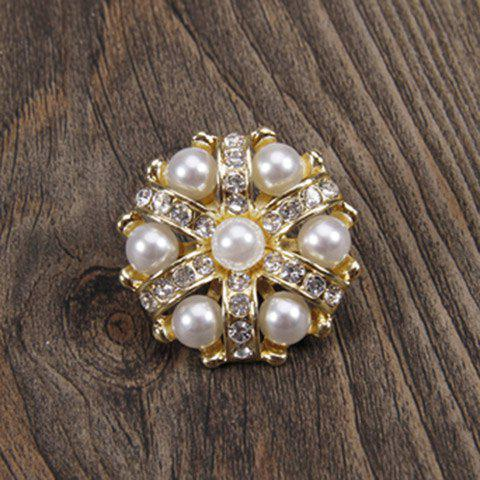 Buy Charming Faux Pearl Rhinestoned Flower Brooch For Women - GOLDEN  Mobile