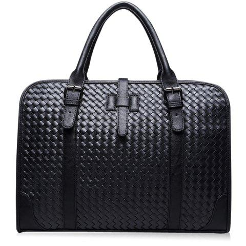 Fashion Casual PU Leather and Weaving Design Briefcase For Men