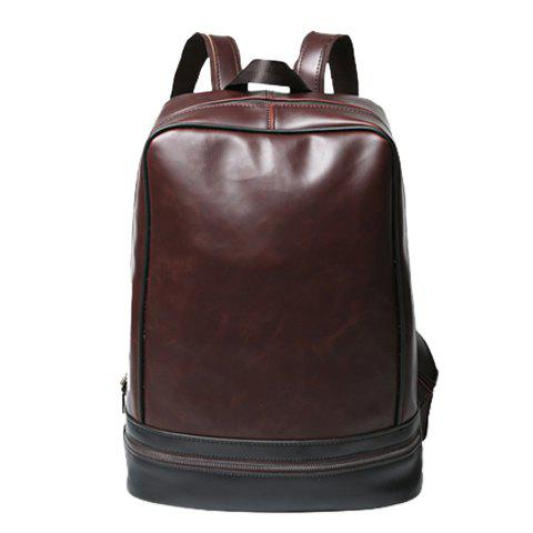 Store Vintage PU Leather and Zip Design Backpack For Men