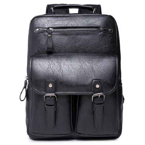 Trendy Stylish PU Leather and Black Color Design Backpack For Men