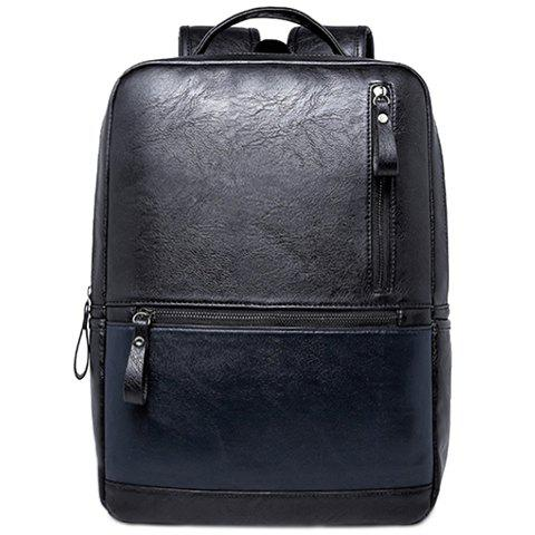 Outfit Laconic Zipper and PU Leather Design Backpack For Men
