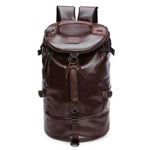 Fancy Casual Solid Color and PU Leather Design Backpack For Men