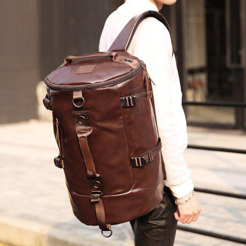 Cheap Casual Solid Color and PU Leather Design Backpack For Men - COFFEE  Mobile