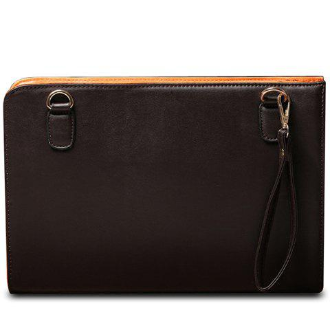 Store Simple Solid Color and PU Leather Design Clutch Bag For Men
