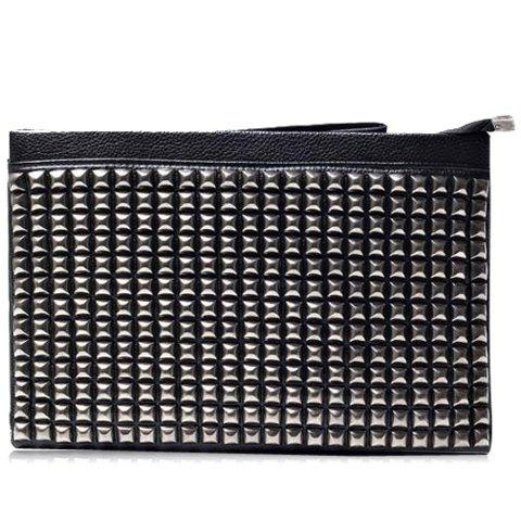 Buy Fashionable Rivets and PU Leather Design Clutch Bag For Men