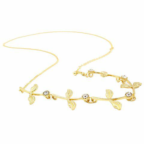 Best Sweet Rhinestone Leaf Link Chain Hair Band For Women