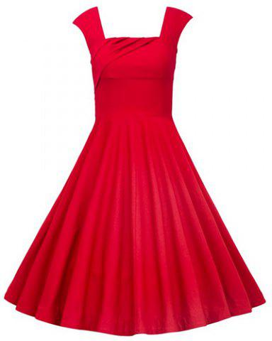 Retro Style Square Neck Sleeveless Solid Color Ball Gown Dress For Women