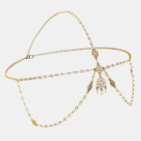 Discount Chic Bohemia Style Faux Pearl Link Chain Headband For Women GOLDEN