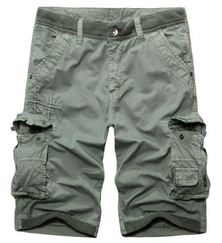 Online Casual Zip Fly Solid Color Multi-Pockets Cargo Shorts For Men
